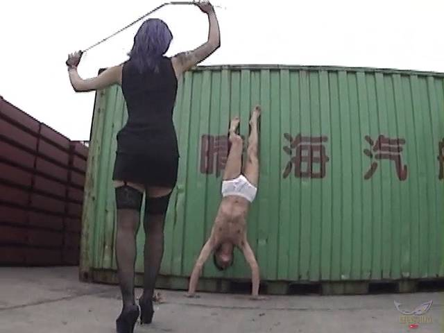 男を逆立ちにして鞭をいれる清流華女王様